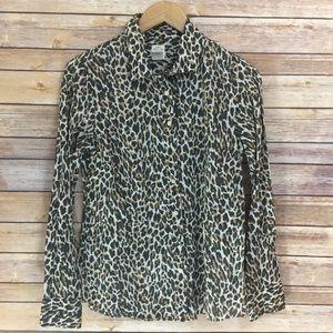 J. Crew The Perfect Shirt Cheetah Button Down 6